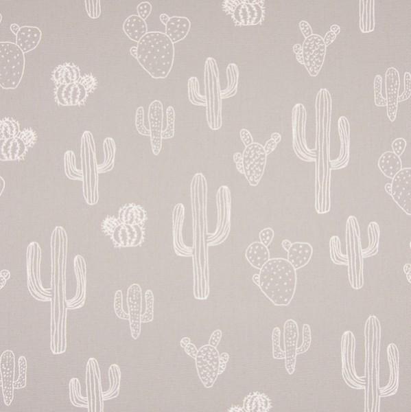 Alfredo Dekostoff Kaktus weiß auf hellgrau