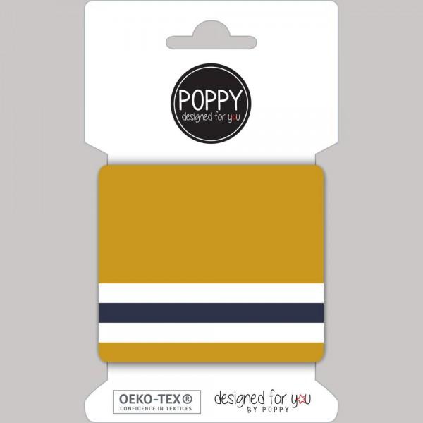 Poppy, Strickbündchen Stripes, senf-dunkelblau-weiß, 135 cm