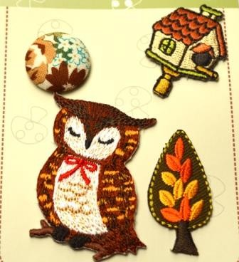 Applikationsset mit Knopf, Owl