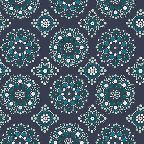 Art Gallery, Loved to Pieces Mandala Drops dunkelblau, Baumwollstoff