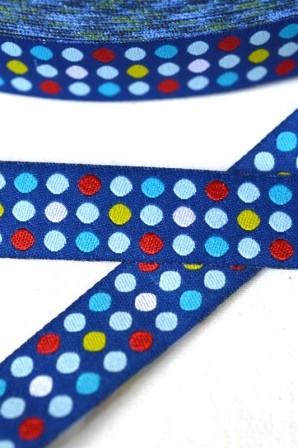 Punkte in drei Reihen, dunkelblau, Webband