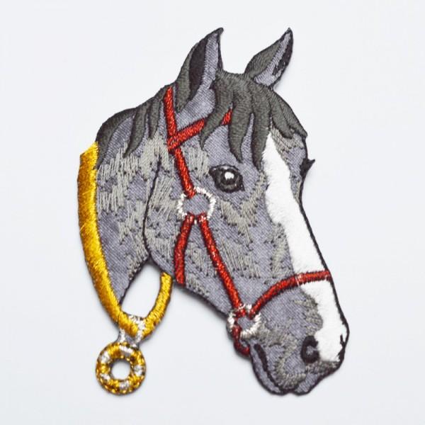 Applikation Pferdekopf, grau