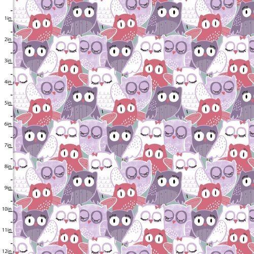 Pippit Moesby Owls purple, Webstoff, *Letztes Stück ca. 100 cm*