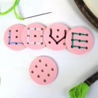 Buchstabenknopf, rosa *SALE*