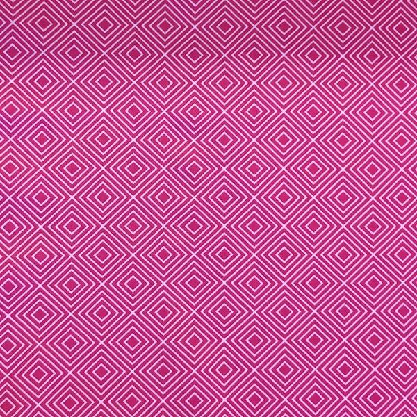 Lili Squares, weiß auf pink, Webstoff