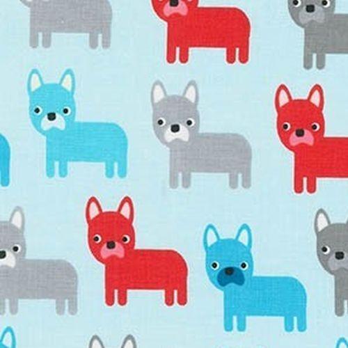 R. Kaufman, Urban Zoologie Pugs Dogs hellblau, *Letztes Stück ca. 100 cm*