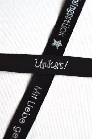 Unikat, schwarz-silber, Webband