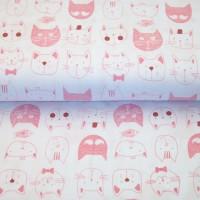 Stenzo Katzenköpfchen rosa auf weiß, Popeline