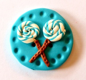 2 x Lollipop, groß, türkis, Fimoknopf *SALE*