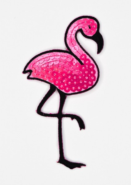 Applikation Flamingo mit Pailletten