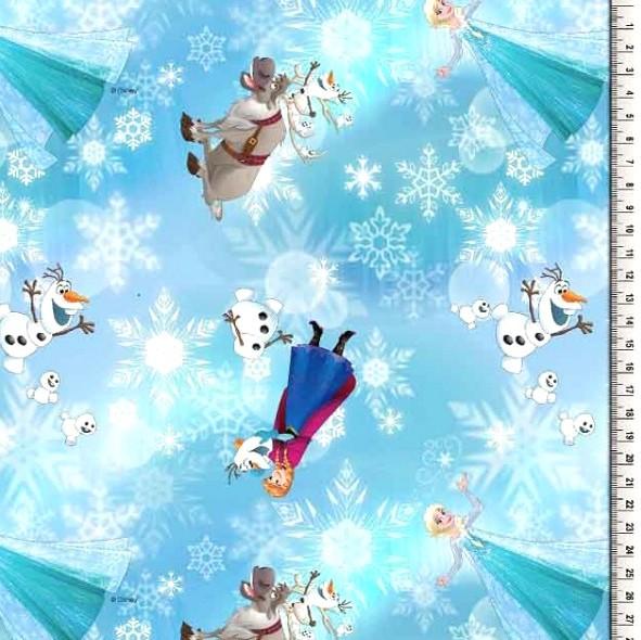 Digitaldruck Frozen&Eiskristalle auf türkis, Eiskönigin, Baumwollstoff