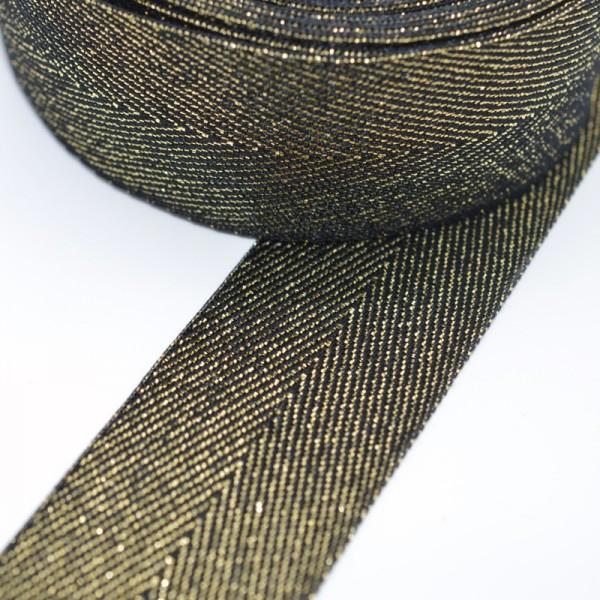 Fischgrät, schwarz-gold, Webband breit
