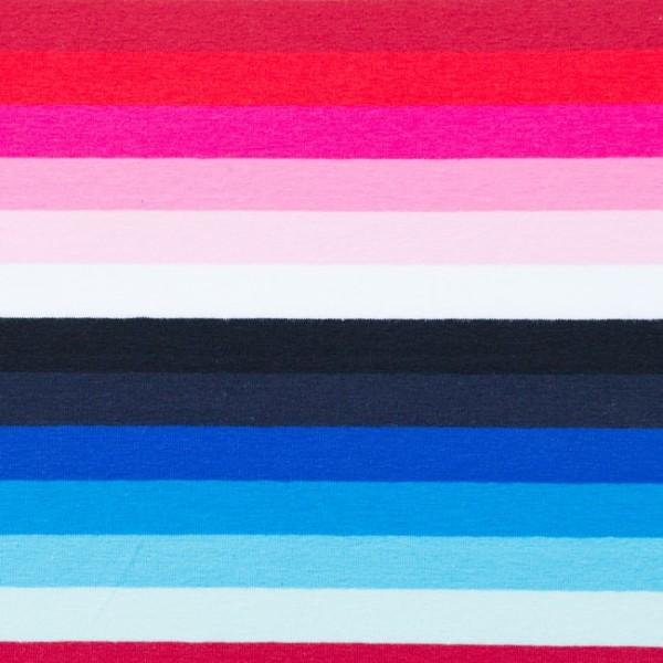 Jersey, Bunte Streifen pink/blau