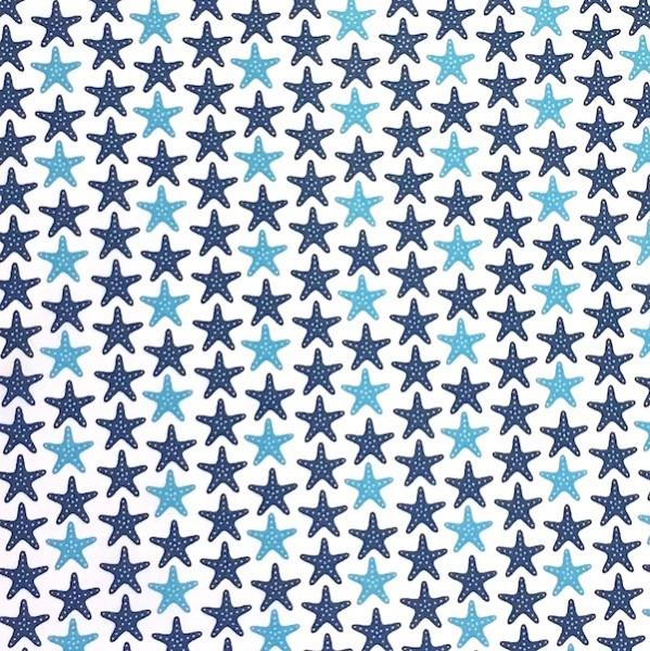 Karlie, Seesterne groß, blau auf weiß, Webstoff