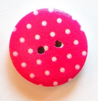 weiße Punkterl auf pink, Holzknopf