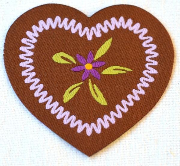 Applikation Herz mit Blume, flieder