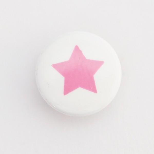 Druckknopf, Stern rosa auf weiß, 10 mm
