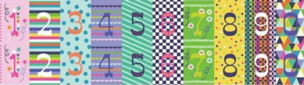 blendfabrics, Hip Hip Hooray, Zahlen, bunt, 30 cm Paneel, Baumwollstoff