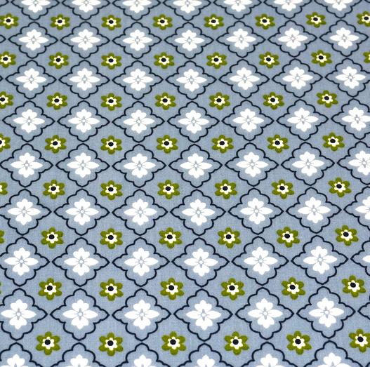Laminat/Wachstuch, Blumenmuster grau
