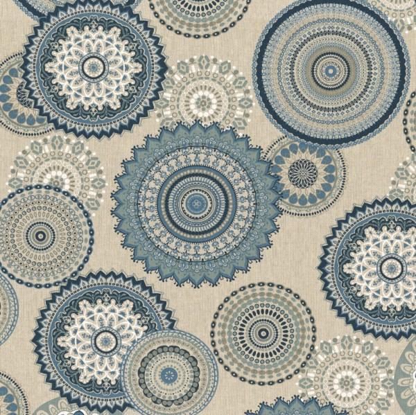 Mandalas blau auf leinen, Dekostoff, *Letztes Stück ca. 60 cm*