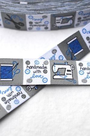 handmade, quadratische Label, blau, Webband