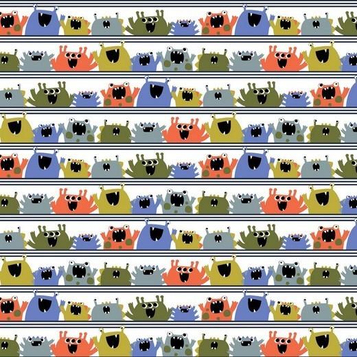 BIO-Baumwolllstoff, Happy Monster weiß, waschbar bei 60°