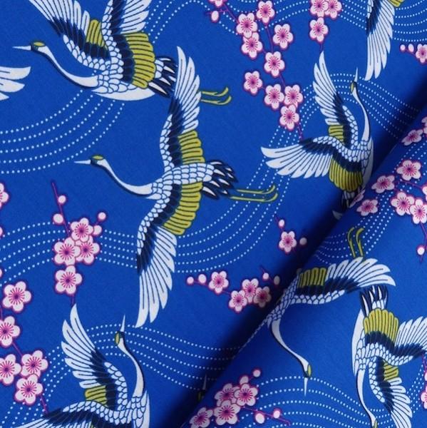 Kraniche auf blau, Webstoff