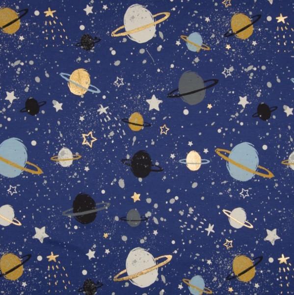 Planeten mit gold-glitzer auf blau, Jersey