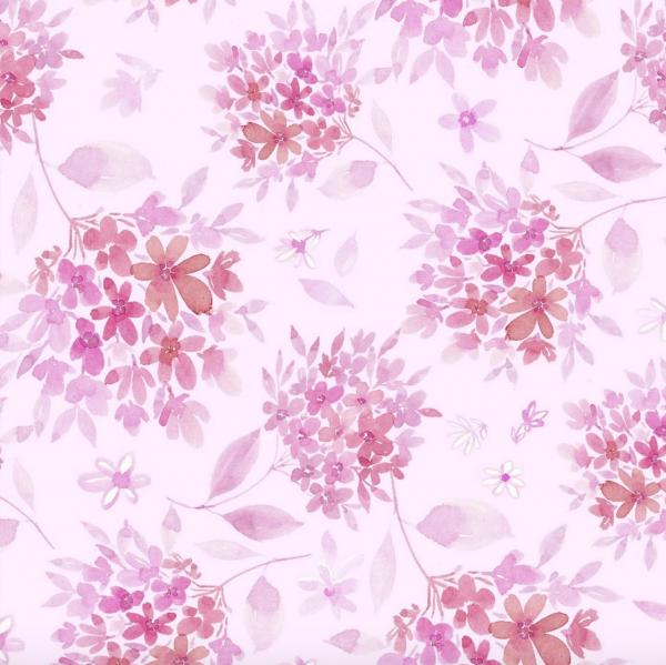 3 Wishes Basics, Love Always Flowers pink, Baumwollstoff