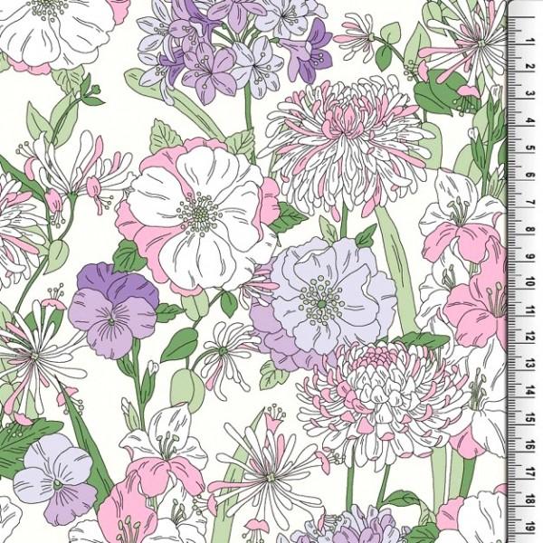 Viskosewebstoff Wiesenblumen rosa-flieder