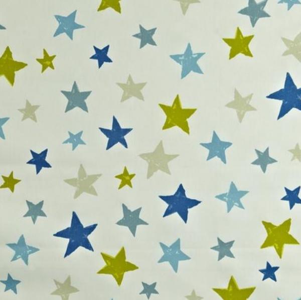 Dekostoff Superstars blau/grün auf offwhite
