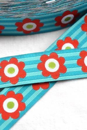 Flowersandstripes, türkis, Webband