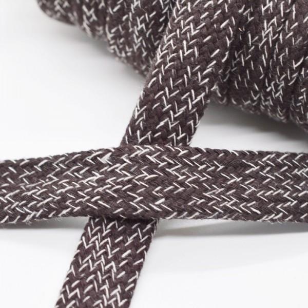 flache Kordel, 15 mm, dunkelbraun meliert