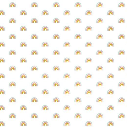 Ida, Baumwolllstoff Regenbogen weiß, waschbar bei 60°