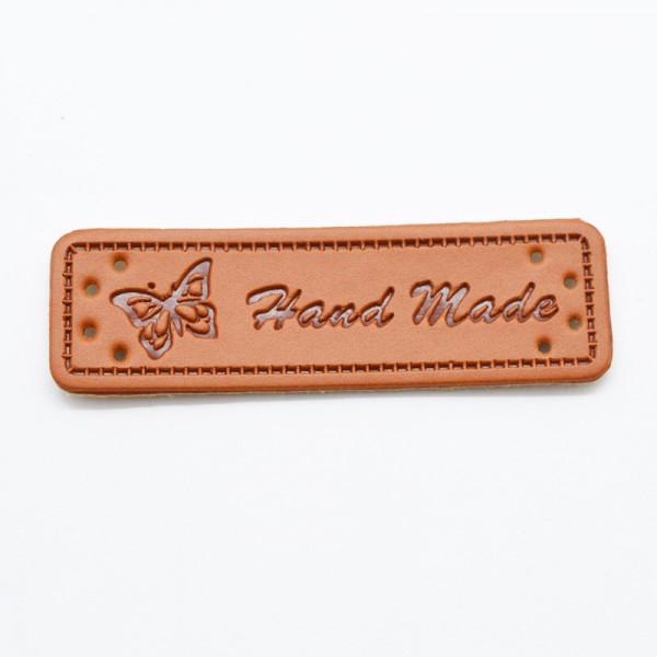 Label aus Kunstleder, handmade, rotbraun