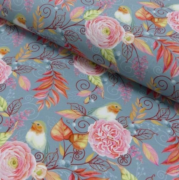 Fräulein von Julie, Blumen&Vögel grau, Jersey