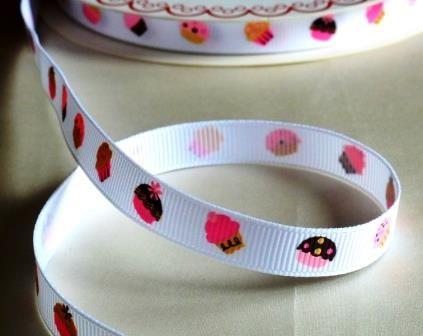 Cupcakes, rosa-braun auf weiß, Ripsband *SALE*