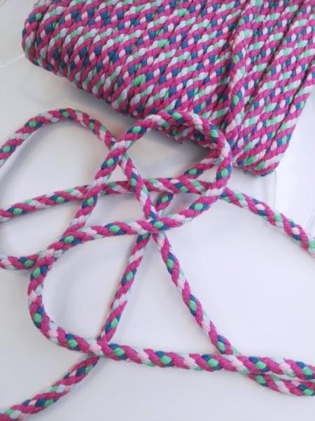 Flechtkordel, 6 mm, pink-grün-blau