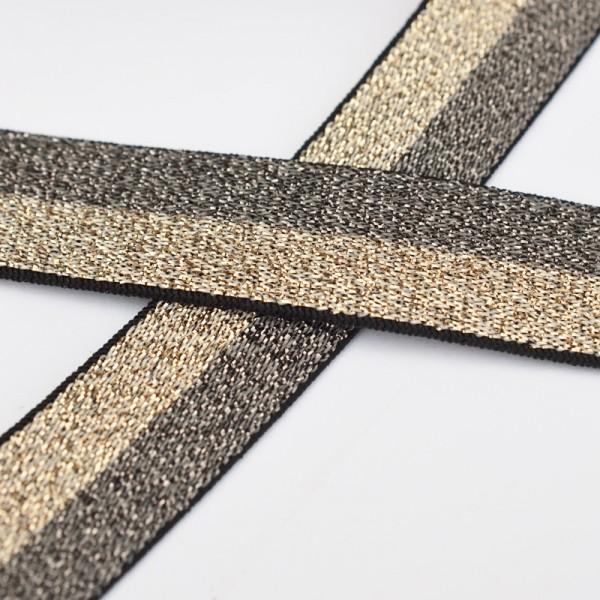 Glitzergummiband, schmal, grau-gold
