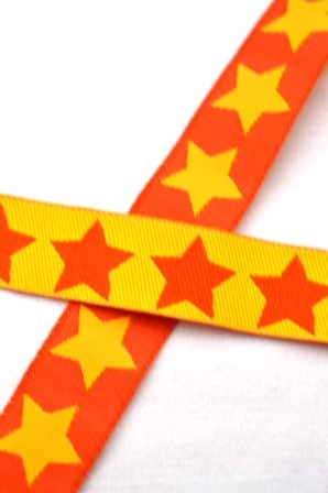 Big Stars, gelb-orange, Webband beidseitig *SALE*