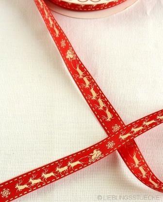 Rentierschlitten, weiß auf rot, Ripsband