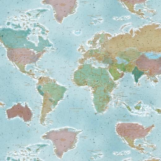 Dekostoff Digitaldruck Weltkarte