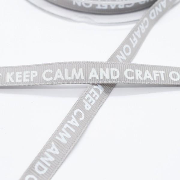 keep calm and craft on, grau, Ripsband