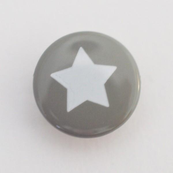 Druckknopf, Stern weiß auf grau, 10 mm