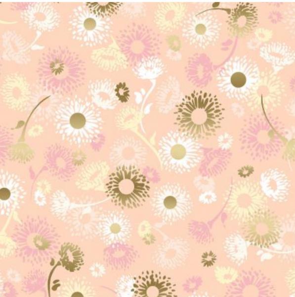 Shiny Objects, English Daisies gold/rosa, Webstoff