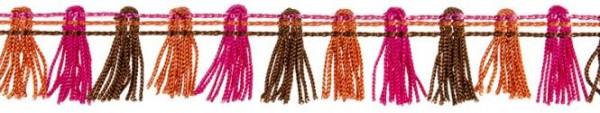 Fransenborte, pink-braun-rot *SALE*