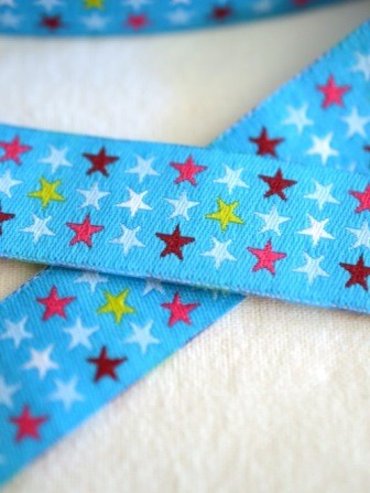 Sterne in drei Reihen, türkis, Webband