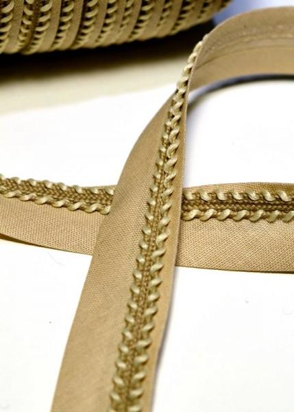 Schrägband mit Borte, beige
