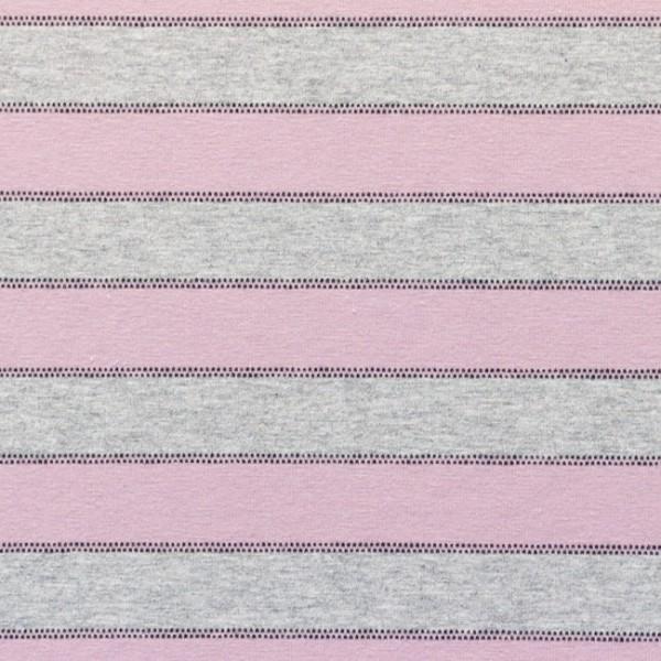 Streifen mit Punktlinien, hellgrau-meliert/altrosa, Jersey