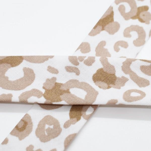 Schrägband, Animal print, taupe auf weiß